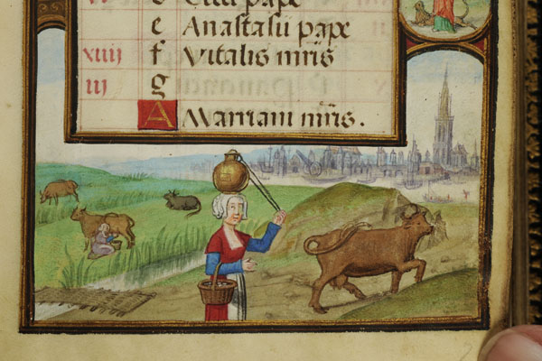 Milkmaids from the Bruges Book of Hours, 16th century