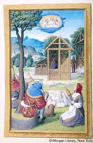 Spinning shepherdess, c.1550, Henry VIII Book of Hours